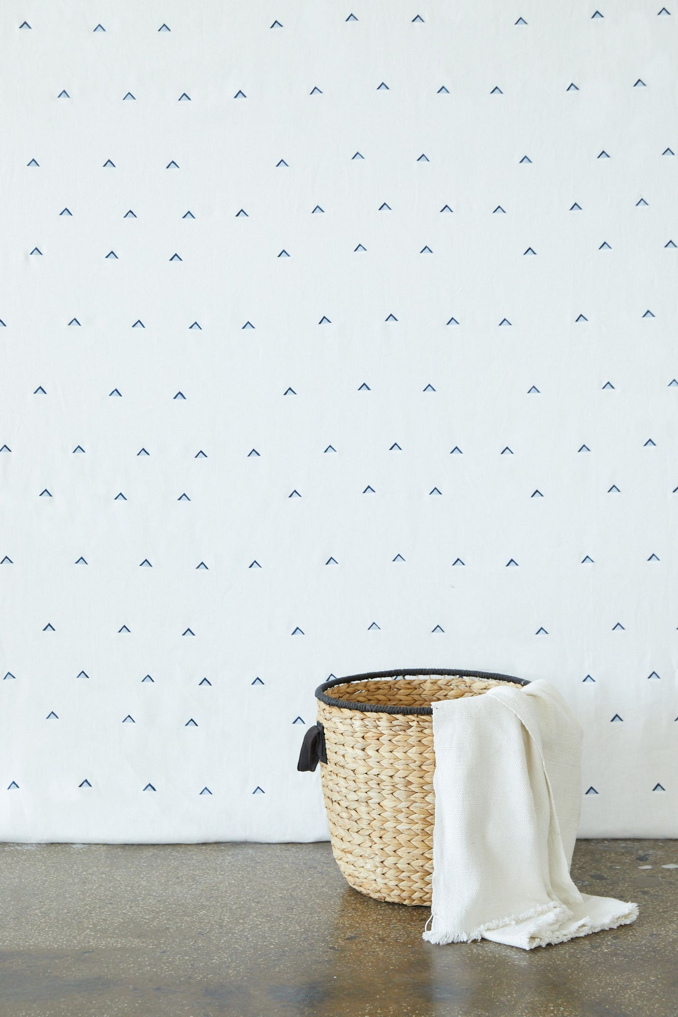Double Triangle Navy on White - Fabric By The Yard