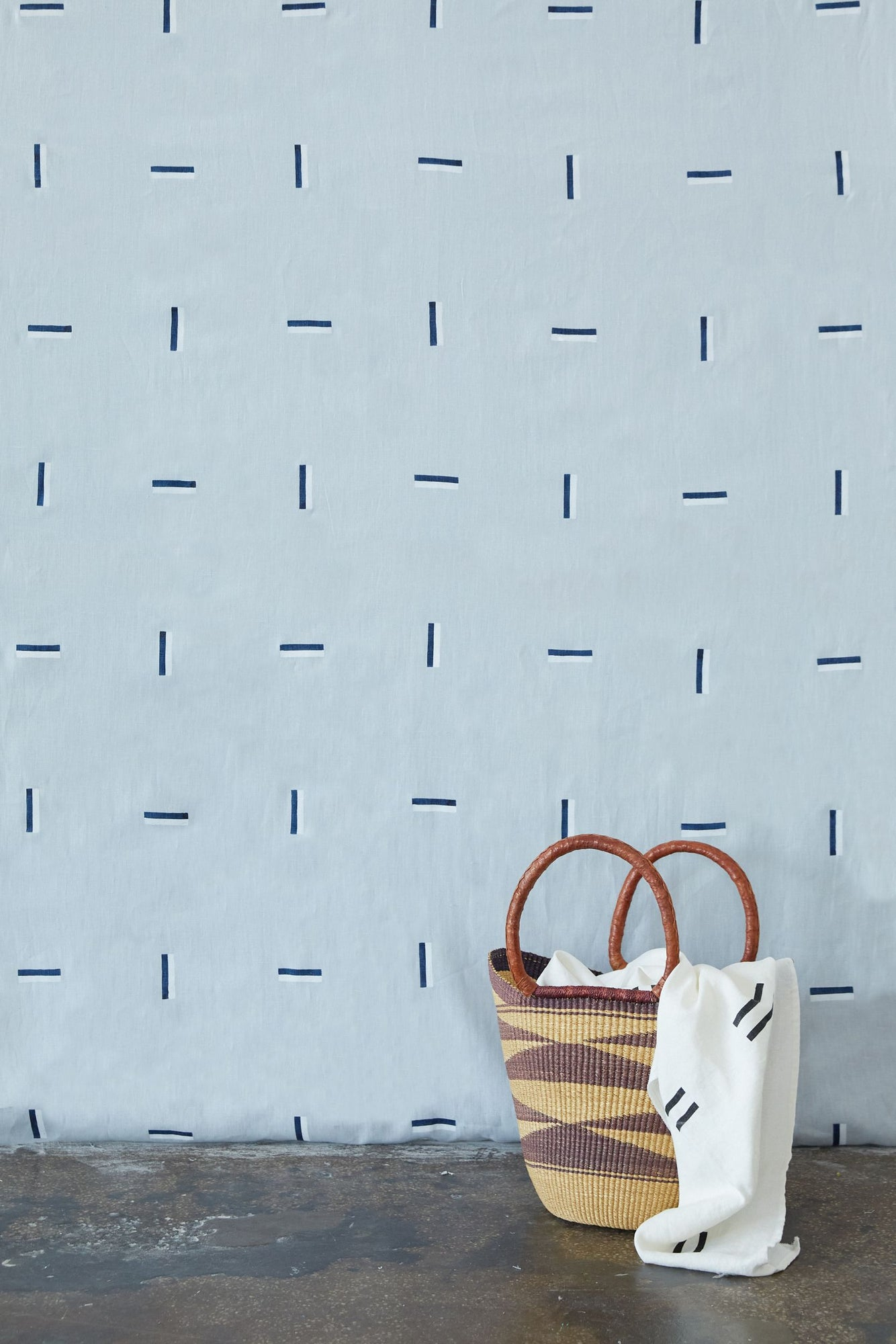 Icehouse Navy & White on Sky - Fabric By The Yard