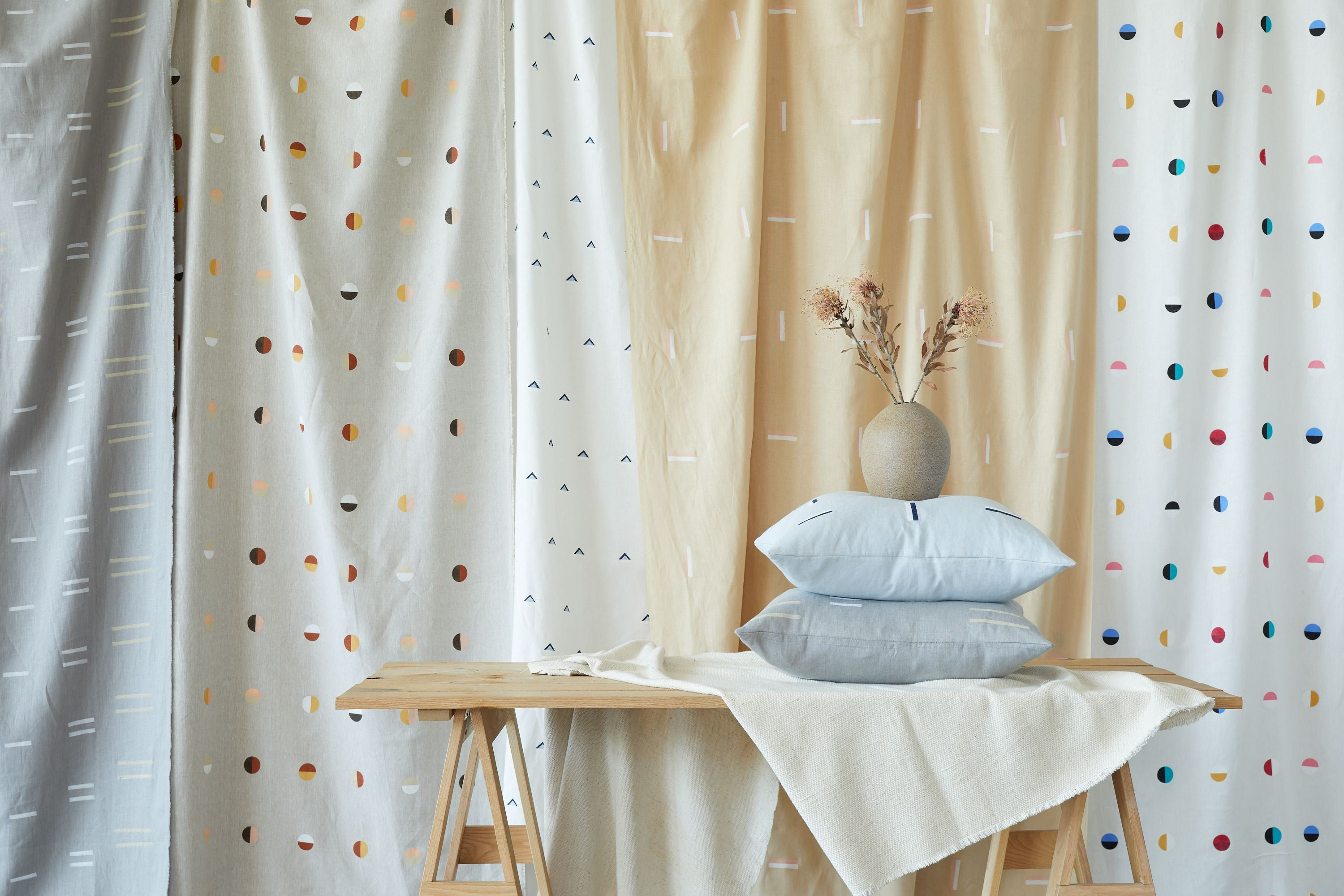 Natural Moons on White - Fabric By The Yard