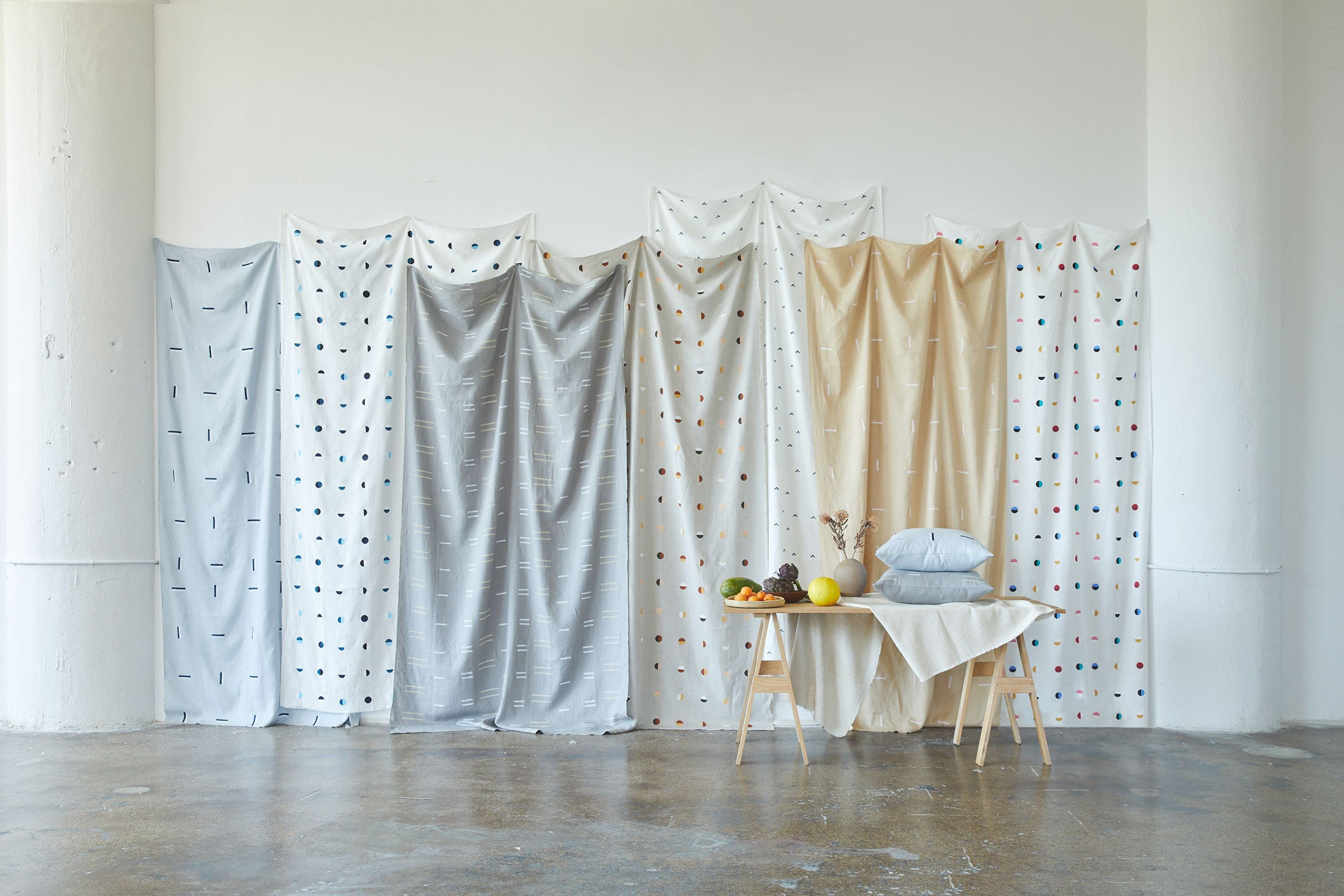 Blue Moons on White - Fabric By The Yard