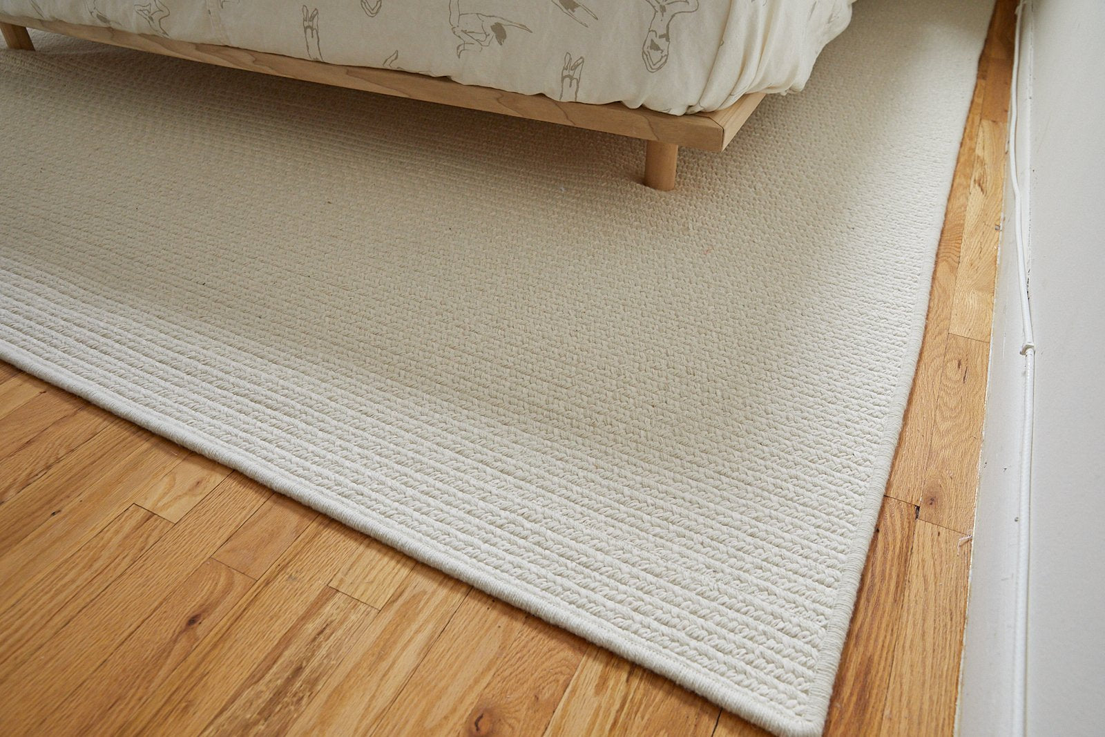Woven Rug // Cream Wool & Natural Linen