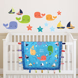 Wee & Charming - Baby Charm Blanket - Deluxe Package in Happy Whales