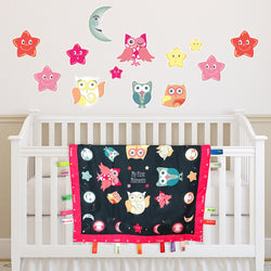 Wee & Charming - Baby Charm Blanket - Deluxe Package in Bedtime Owls