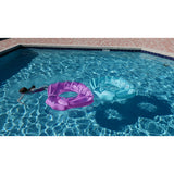 Giant Teal Glitter Sea Shell in pool with kid by BigMouth Pool Floats