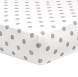 Liz and Roo Crib Sheets (2-pack) Gray Polka Dots