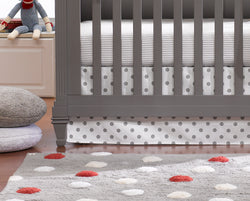 Liz and Roo Crib Skirts in Gray Dot