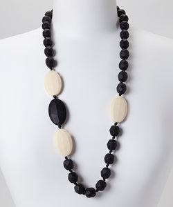 Gumeez - Quattro Teething Necklace in Black & Linen