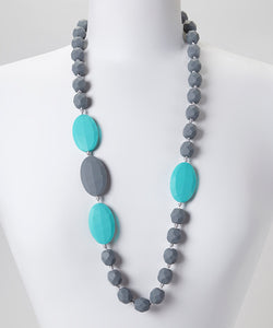 Gumeez - Quattro Teething Necklace in Turquoise & Grey