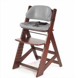 KEEKAROO Height Right Kids Chair in Mahogany with Grey Comfort Cushions