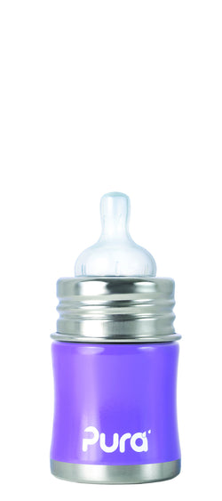 Pura Kiki Stainless Steel - 5 oz Infant Bottle with Slow Flow Nipple in Lavender
