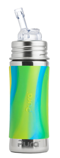 Pura Kiki 325ml Natural Straw Bottle - Aqua Swirl