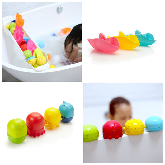 Ubbi Bath Toy Organizer and Toy Set (Dolphin)