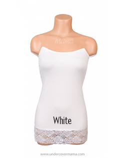 Undercover Mama - White with Lace Trim