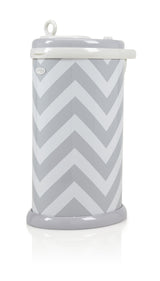 UBBI - Steel Diaper Pails in Grey Chevron