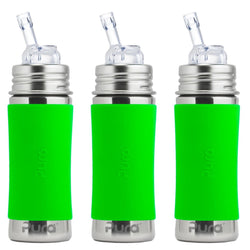 Pura Kiki 325ml Straw Bottles (Pack of 3) in Green