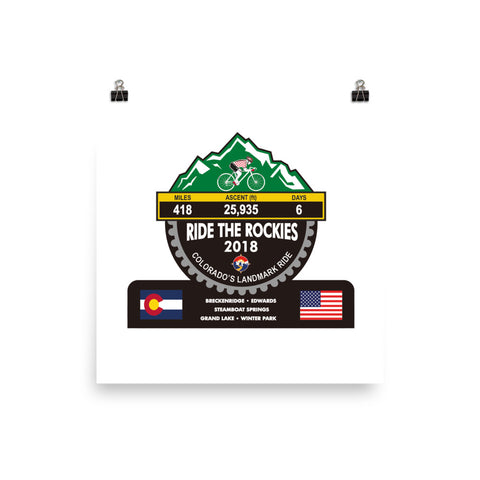 Ride The Rockies 2018, CO - Mountain Trophy Photo paper poster