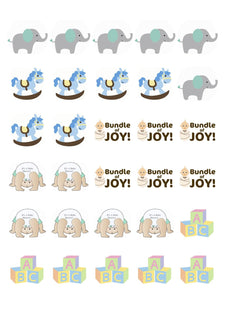 Baby show pre cut edible cupcake toppers - Kitchen and Baking