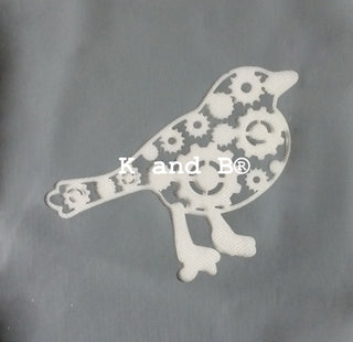 Steampunk bird cake decorating mesh stencil - Kitchen and Baking