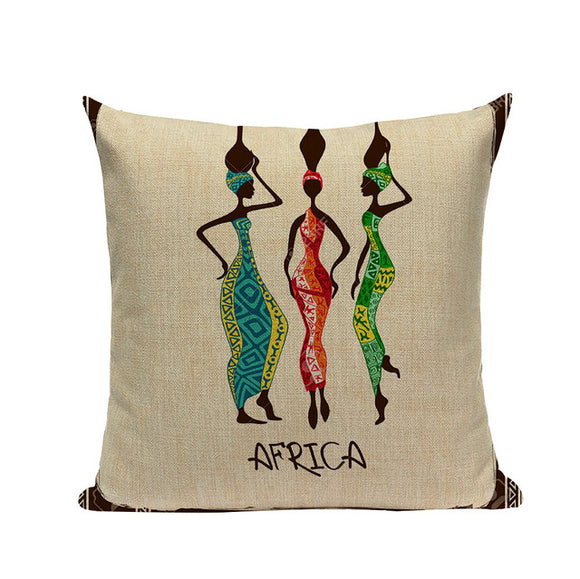 Tene Cushion Cover African Tribal Ethnic Ladies Cushion Throw Pillow Cover Portrait Print