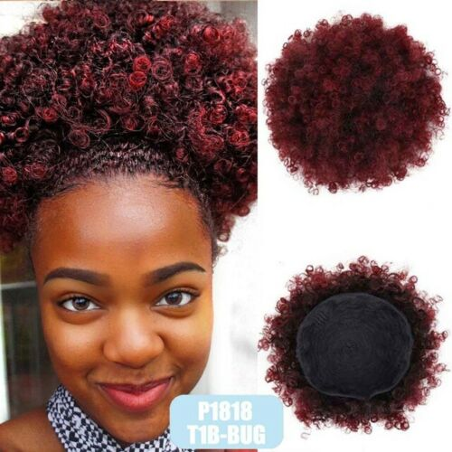 Abena T1B/BUG Large size Synthetic Curly Wave Hair Clip Ponytail Afro Kinky Puff