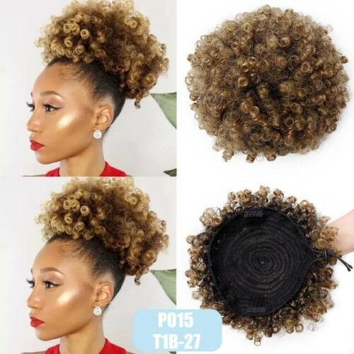 Abena T1B/27 Large size Synthetic Curly Wave Hair Clip Ponytail Afro Kinky Puff