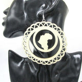 New African Map Afrocentric Africa Wooden Costume Earrings Ethnic Jewellery