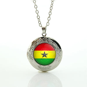 Africana Silver plated Flag Necklace & Flag locket African Jewelry Unisex Gift item Ghana Flag, Nigeria flag,Cameroun, Ivorian, Ivory Coast