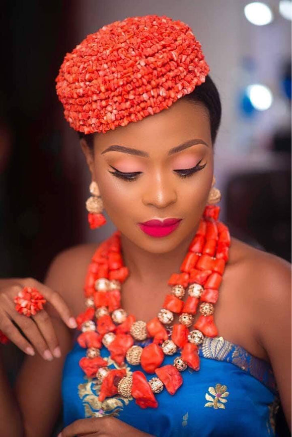 Boma Boma (Red) Handmade Authentic Rice Coral Beaded Traditional African Cap Bride Igbo Wedding