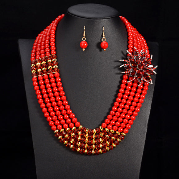 Shange African Beads Jewellery Set Bead Statement Necklace Earrings Nigerian wedding Ghana wedding