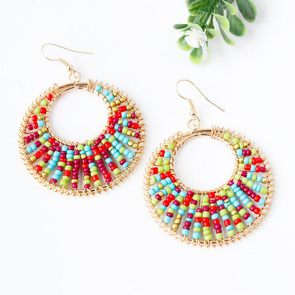 Ndo African Woman Afrocentric Fabric Earrings Africa Ethnic Tribal Boho Jewelry