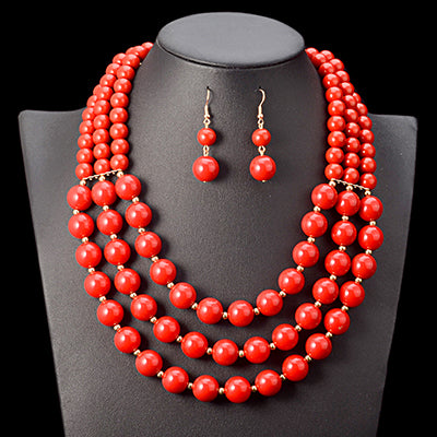African Beads Jewellery Set Bead Statement Necklace Earrings Nigerian wedding Ghana wedding