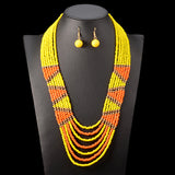 Akilah African Beads Jewelry Set Bead Statement Necklace Earrings Nigerian wedding Ghana wedding