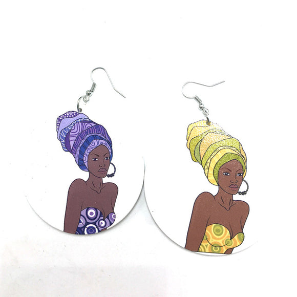 Iriye African Woman Afrocentric Wooden Earrings Africa Ethnic Tribal Boho Jewelry