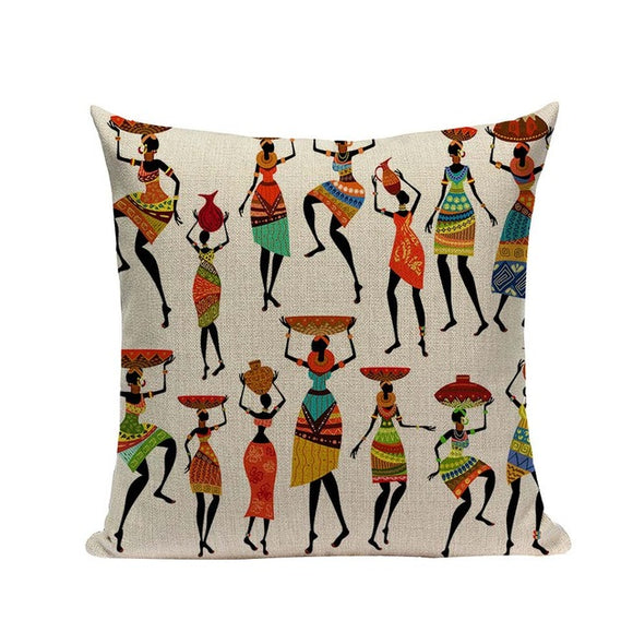 Aza African Tribal Zulu Ethnic Ladies Cushion Cover Portrait Print 18x18inches