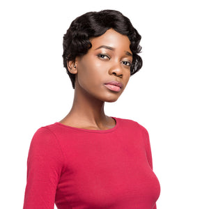 Fola Human Hair Wigs For Women Brazilian Non-remy Human Hair Short Wavy Bob Wigs With Bangs