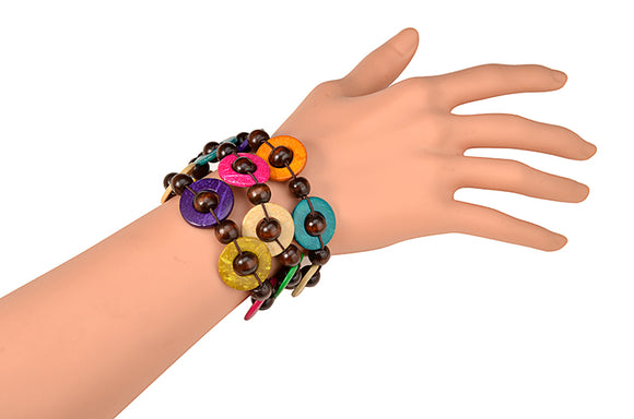 Almasi Multicoloured Handmade Wooden Bracelet Women Bangles Ladies Jewelry