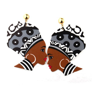 Karalana African Woman Afrocentric Wooden Earrings Africa Ethnic Tribal Boho Jewelry