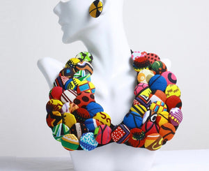 Leeda African Beads Jewelry Set Button Statement Necklace Earrings African Print Nigerian wedding Ghana wedding