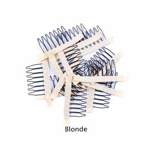 Akosua 6pcs lace Wig combs Steel 7 tooth Polyester for hairpiece cap 4 colours