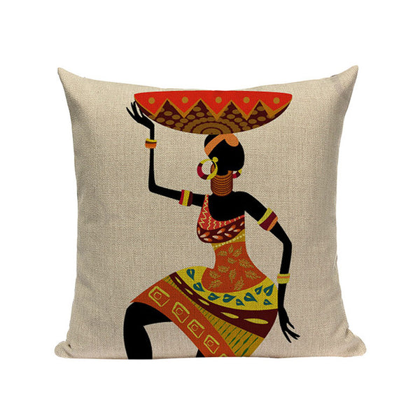 Keita African Tribal Ethnic Ladies Cushion Cover Portrait Print