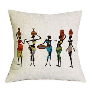 Swintayla Cushion Cover African Tribal Ethnic Ladies Cushion Throw Pillow Cover Portrait Print
