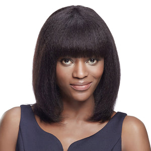 Efia Human Hair Wigs For Black Women Kinky Straight Yaki Fringe Wig Indian Remy Hair