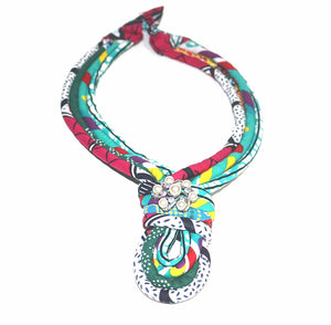Busara African necklace Knot style African Print with Crystal Brooch Jewelry choker necklace Statement Necklace Nigerian wedding Ghana wedding