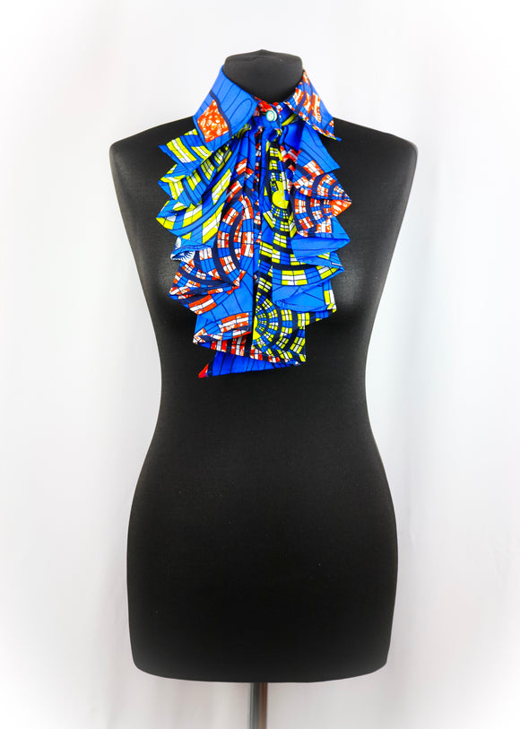 Evi Neckpiece Handmade African Wax Print False Collar Statement Necklace One size