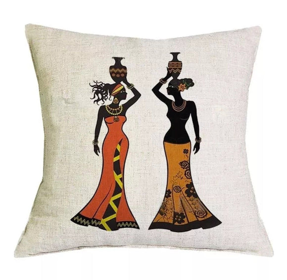 Bella African Tribal Zulu Ethnic Ladies Cushion Cover Portrait Print 18x18inches