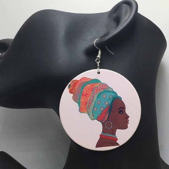 Aziba African Woman Afrocentric Wooden Earrings Africa Ethnic Tribal Boho Jewelry