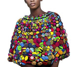 Tireni New Ladies Multi Coloured African Ankara Button Shrug Wrap Stud Applique Shawl One size