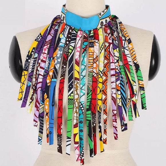 Marini African Jewelry  Statement Choker Necklace African Print Nigerian wedding Ghana wedding
