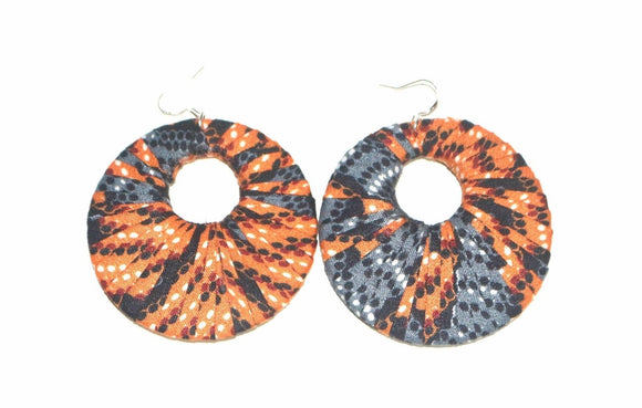 Nnenda Hand Made African Print Multicoloured Hoop Earrings Ladies Jewellery