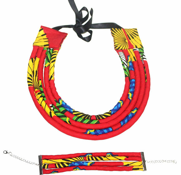 Ntewe African Jewellery Set  Statement Necklace Bracelet Nigerian wedding Ghana wedding